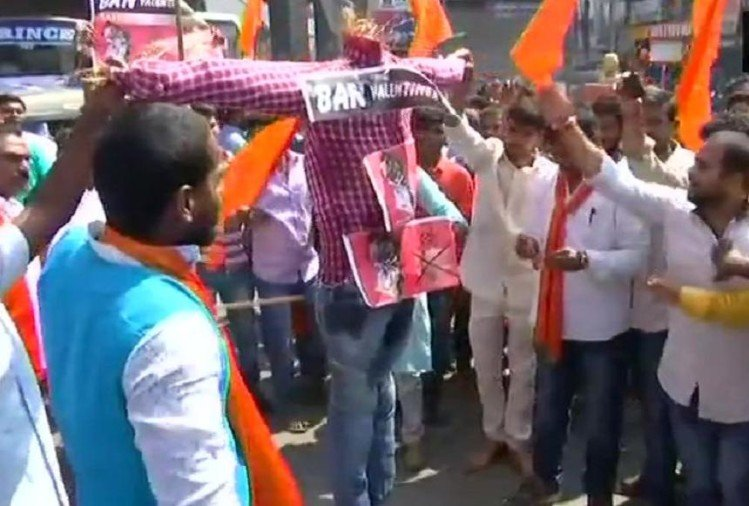 Bajrang Dal protesting against celebration of Valentines Day across the country